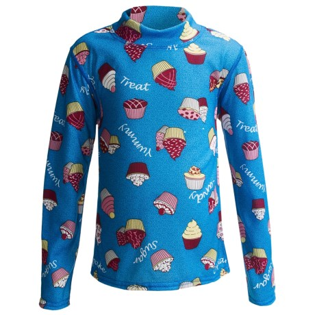 Hot Chillys Peachskins Print Base Layer Mock Turtleneck - Midweight, Long Sleeve (For Youth) in Cupcakes/Blue