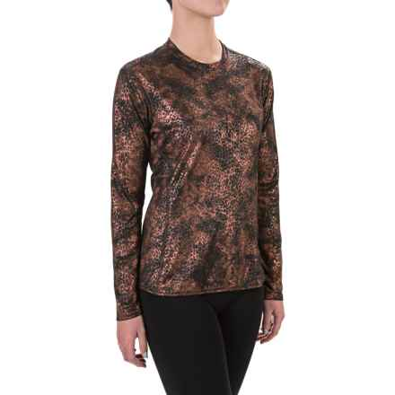 Hot Chillys Peachskins Print Base Layer Top - Midweight, Crew Neck, Long Sleeve (For Women) in Copper Cheetah - Closeouts