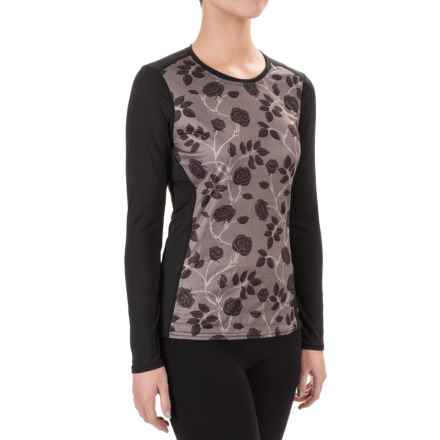 Hot Chillys Peachskins Print Base Layer Top - Midweight, Long Sleeve (For Women) in Midfloral/Black - Closeouts