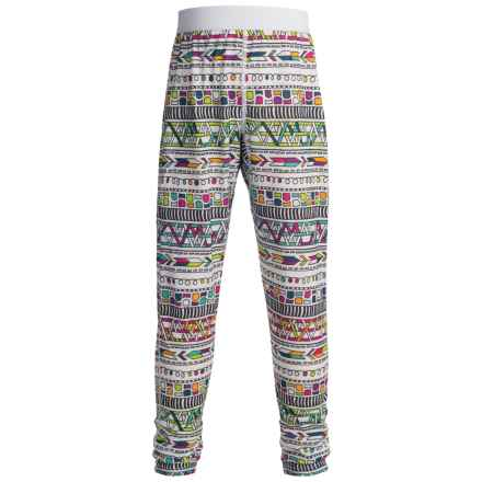 Hot Chillys Pepper skins Print Base Layer Pants - Midweight (For Little and Big Kids) in Stencil Hyper - Closeouts