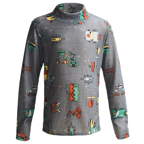 Hot Chillys Pepperskins Print Base Layer Mock Turtleneck - Midweight, Long Sleeve (For Youth) in Pirates