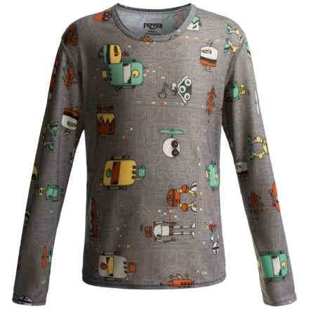 Hot Chillys Pepperskins Print Base Layer Top - Midweight, Crew Neck, Long Sleeve (For Little and Big Kids) in Bots/Charcoal - Closeouts