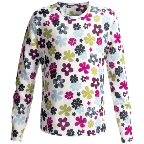 Hot Chillys Pepperskins Print Base Layer Top - Midweight, Crew Neck Long Sleeve (For Youth) in Flower Power
