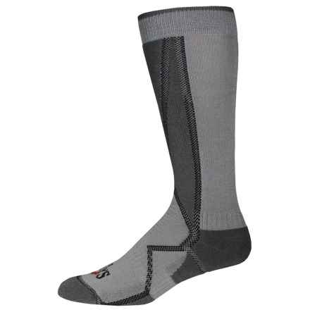 Hot Chillys Premier Low Volume Ski Socks - Over the Calf (For Men) in Charcoal/Black/Grey - Closeouts