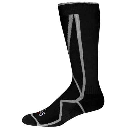 Hot Chillys Premier Mid Volume Ski Socks - Over the Calf (For Men) in Black/Grey/Black - Closeouts