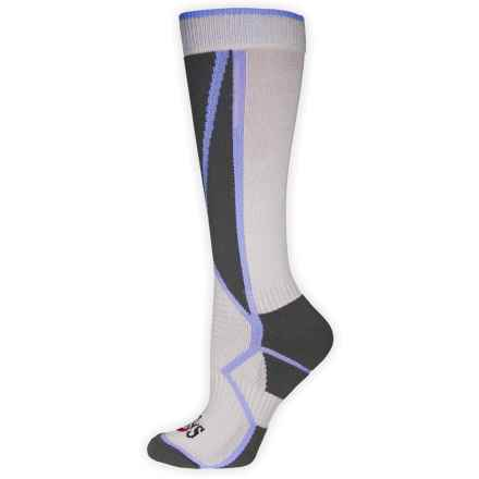 Hot Chillys Premier Mid Volume Ski Socks - Over the Calf (For Women) in Charcoal/Lavender/Stone - Closeouts