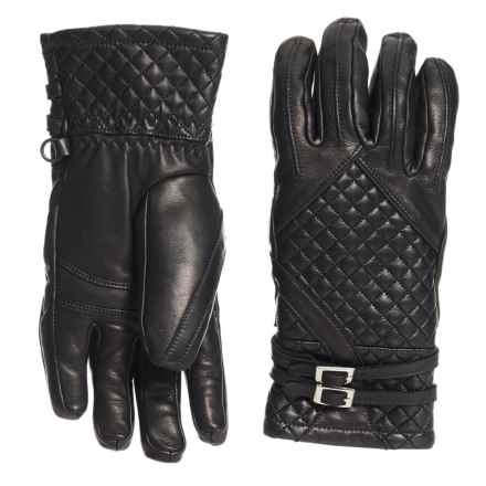 Hot Chillys Rita Leather Gloves - Insulated (For Women) in Black - Overstock