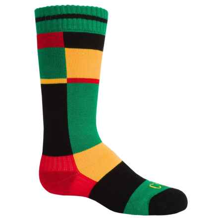 Hot Chillys Static Midweight Ski Socks - Over the Calf (For Little and Big Kids) in Static/Green - Closeouts