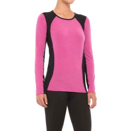 Hot Chillys Wool-Blend Stretch Base Layer Top - Crew Neck , Long Sleeve (For Women) in Heather Razzle/Black - Closeouts