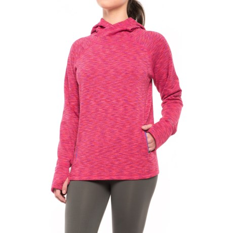 Hottotties Uptown Girl Park Fleece Hoodie (For Women) in Pink Space Dye