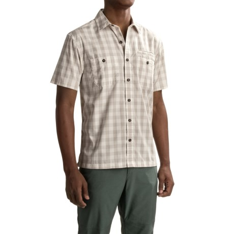 Howler Brothers Aransas Shirt - Short Sleeve (For Men) in Palaka Plaid/Blanco/Grey