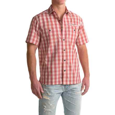 Howler Brothers Aransas Shirt - Short Sleeve (For Men) in Palaka Plaid/Fiesta Red - Closeouts