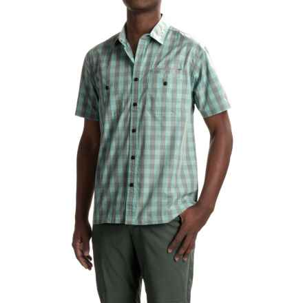 Howler Brothers Aransas Shirt - Short Sleeve (For Men) in Palaka Plaid/Surfmist/Grey - Closeouts