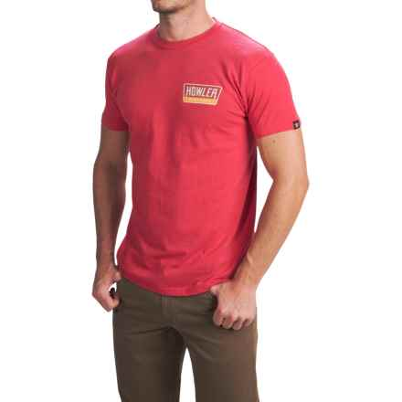 Howler Brothers Graphic T-Shirt - Short Sleeve (For Men) in Hi Watt/Faded Cherry Heather - Closeouts