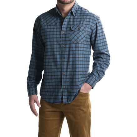Howler Brothers Harkers Flannel Shirt - Long Sleeve (For Men) in Box Plaid/Deep Ocean - Closeouts