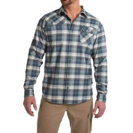 Howler Brothers Harkers Flannel Shirt - Long Sleeve (For Men) in Slider Plaid/Blue - Closeouts