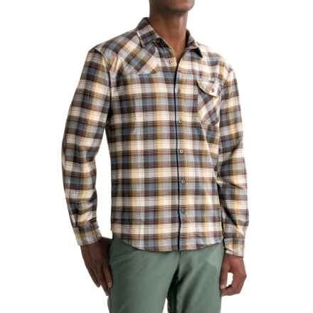Howler Brothers Harkers Flannel Shirt - Long Sleeve (For Men) in Slider Plaid/Earth - Closeouts