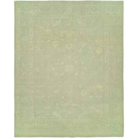 HRI Antique Natural Hand-Knotted Wool Area Rug - 5x8' in Green/Ivory - Closeouts