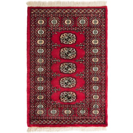 HRI Bokhara Collection Hand-Knotted Wool Accent Rug - 2x3' in Red