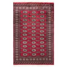 HRI Bokhara Collection Hand-Knotted Wool Accent Rug - 4x6' in Red - Overstock