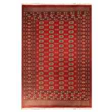 HRI Bokhara Collection Hand-Knotted Wool Area Rug - 6x9' in 2 Red - Overstock