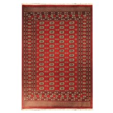 HRI Bokhara Collection Hand-Knotted Wool Area Rug - 9x12' in 2 Red - Overstock
