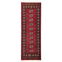 HRI Bokhara Collection Hand-Knotted Wool Floor Runner - 2x6' in Red - Overstock