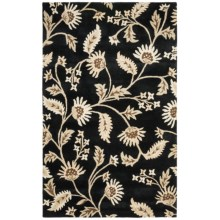 HRI Botanical Collection Area Rug - Hand-Tufted Wool, 8x11' in Black - Overstock