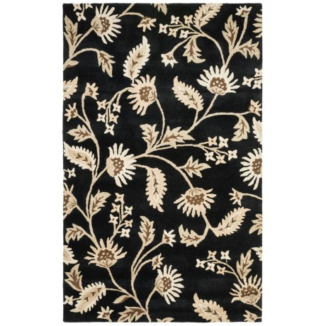 HRI Botanical Collection Area Rug - Hand-Tufted Wool, 8x11' in Black