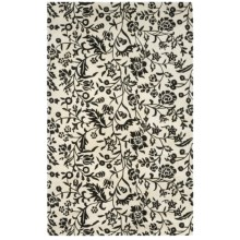 HRI Damask Collection Area Rug - Hand-Tufted Wool, 5x8' in Ivory/Black - Closeouts