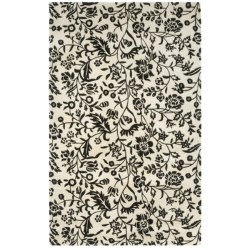 HRI Damask Collection Area Rug - Hand-Tufted Wool, 5x8' in Ivory/Black