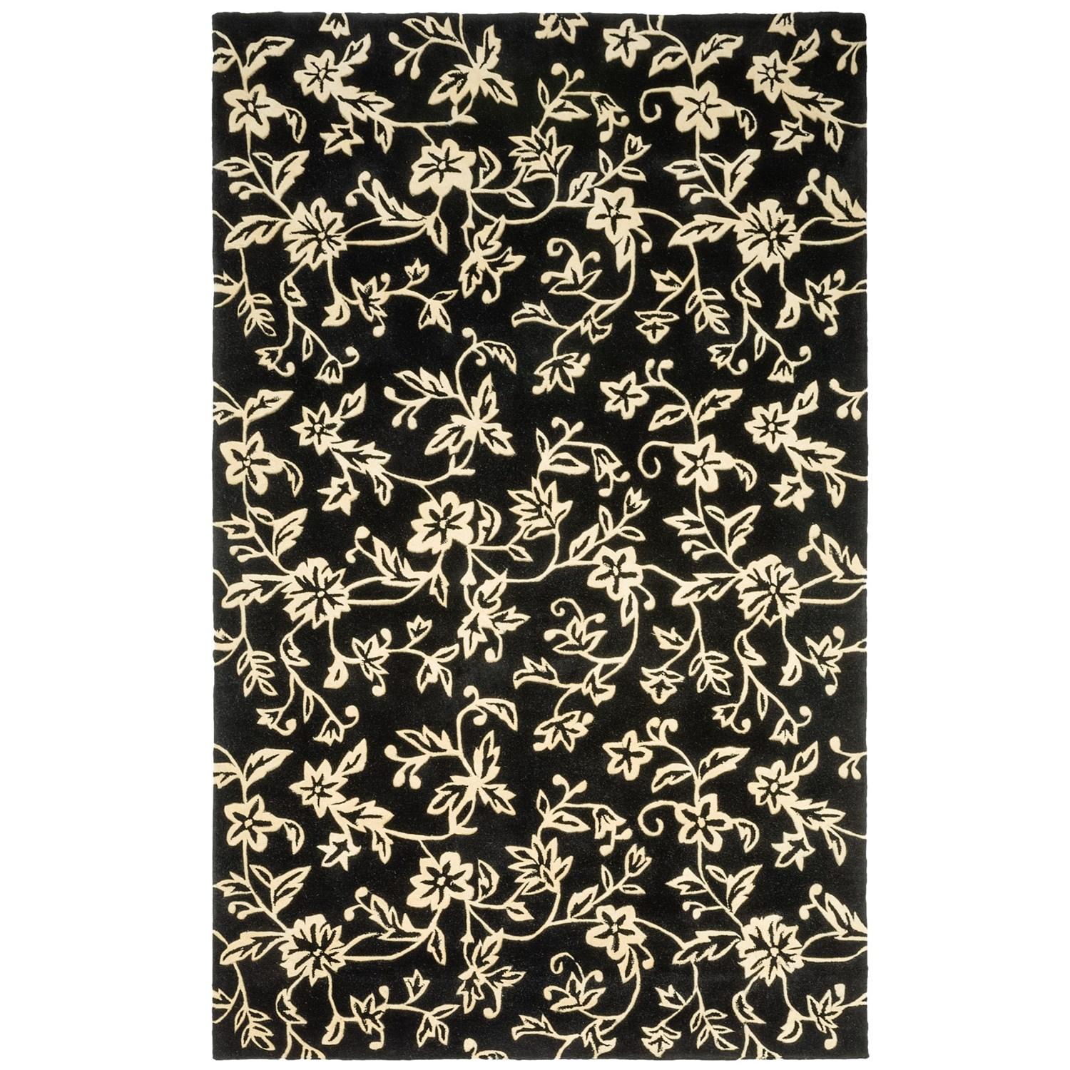 Hri damask collection area rug hand tufted wool 8x11 for Black and white wool rug