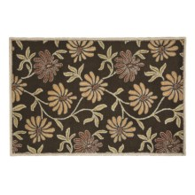 HRI Floral Area Rug - 5x8', Wool in Daisy Brown - Closeouts