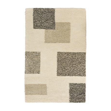 HRI Geometric Area Rug - 4x6', Wool in Ivory
