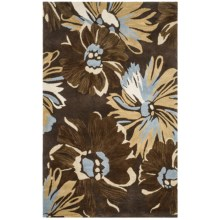 HRI Inspired Collection Area Rug - Hand-Tufted Wool, 5x8' in Brown Floral - Overstock