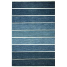 """HRI Kabash Collection Reversible Area Rug - 5'x7'8"""", Hand-Loomed Wool in Blue - Closeouts"""