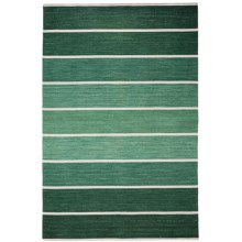 HRI Kabash Collection Reversible Area Rug - 8x10', Hand-Loomed Wool in Green - Closeouts