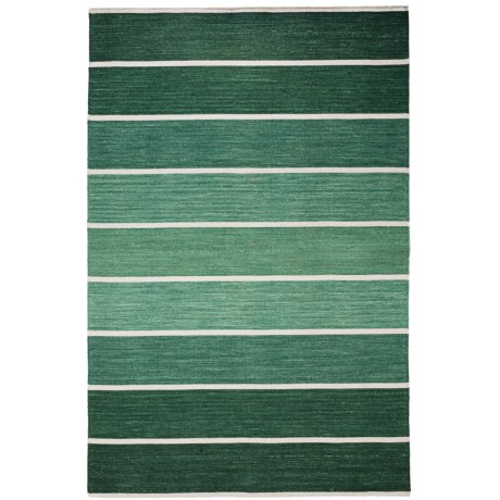 HRI Kabash Collection Reversible Area Rug - 8x10', Hand-Loomed Wool in Green