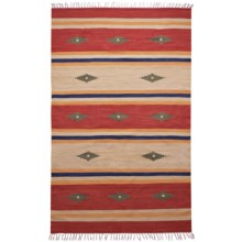 HRI Kilim Collection Reversible Area Rug - 5x8', Flat-Weave in Green Diamond Stripe - Overstock