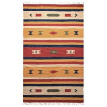 HRI Kilim Collection Reversible Area Rug - 5x8', Flat-Weave in Tangerine/Ivory Stripe - Overstock