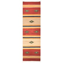 "HRI Kilim Collection Reversible Floor Runner - 2'3""x8', Flat-Weave in Green Diamond Stripe - Overstock"