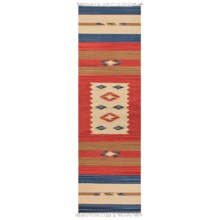 "HRI Kilim Collection Reversible Floor Runner - 2'3""x8', Flat-Weave in Ivory Medallion - Overstock"