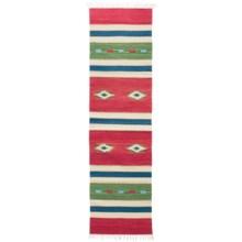 "HRI Kilim Collection Reversible Floor Runner - 2'3""x8', Flat-Weave in Red/Green - Overstock"