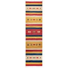 """HRI Kilim Collection Reversible Floor Runner - 2'3""""x8', Flat-Weave in Tangerine/Ivory Stripe - Overstock"""