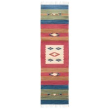 "HRI Kilim Collection Reversible Floor Runner - 2'3""x8', Flat-Weave Wool in Ivory/Red - Overstock"
