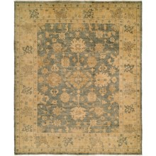 HRI Oushak Hand-Knotted Wool Accent Rug - 4x6' in Blue/Gold - Closeouts