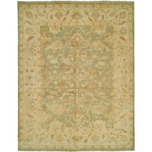 HRI Oushak Hand-Knotted Wool Accent Rug - 4x6' in Light Green/Ivory - Closeouts