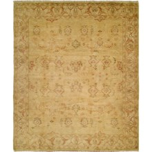 HRI Oushak Hand-Knotted Wool Accent Rug - 6x9' in Gold/Ivory - Closeouts