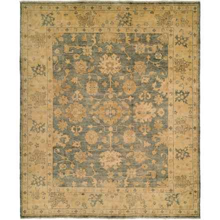 HRI Oushak Hand-Knotted Wool Accent Rug - 6x9' in Blue/Gold - Closeouts