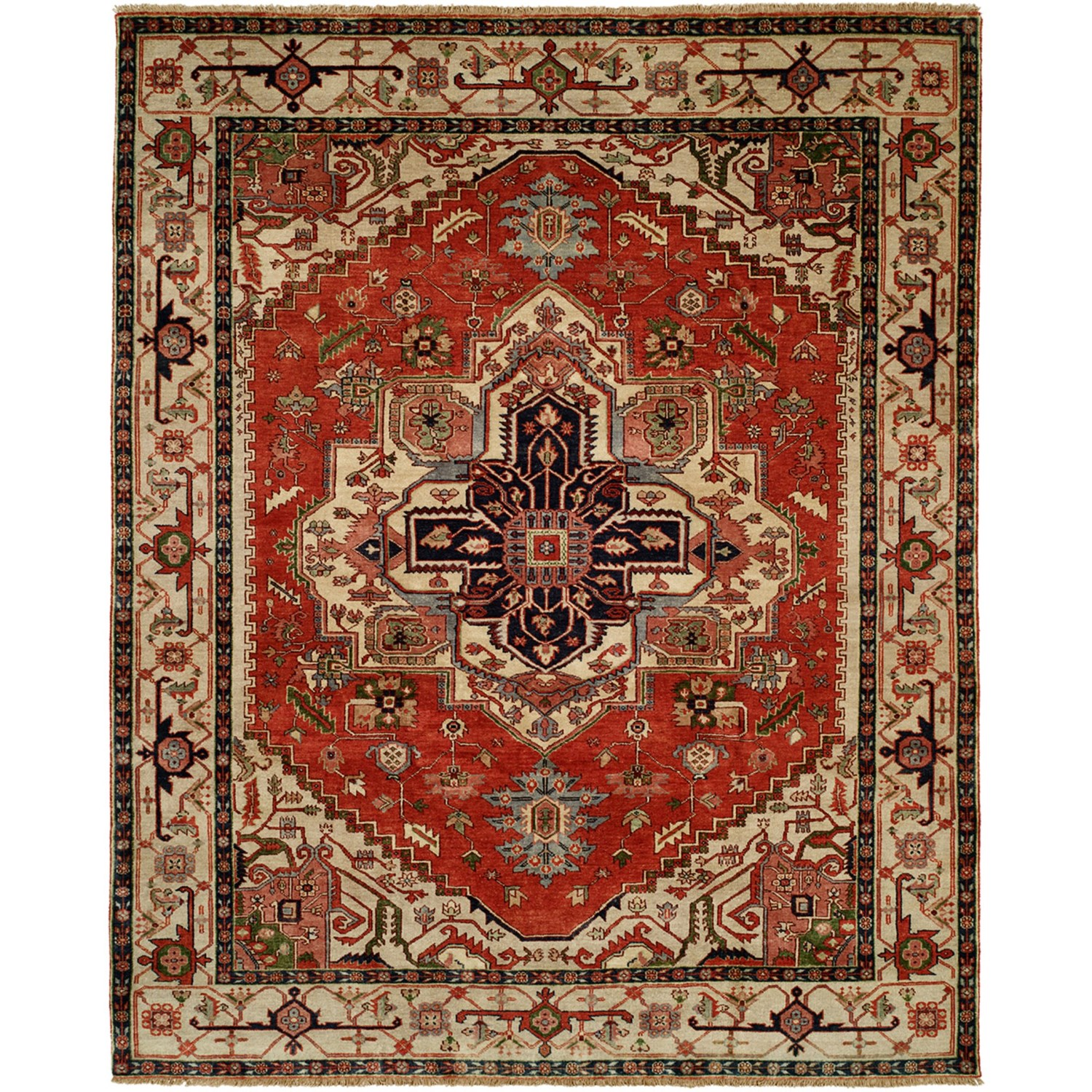 Hand Knotted Persian Style Wool Pile Area Rug: HRI Serapi Hand-Knotted Wool Pile Area Rug